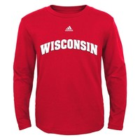 adidas Wisconsin Badgers Wordmark Tee - Boys 8-20