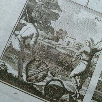 Antique French print about fishing - 1751 copper engraving with pictures of catching fish fisherman fishes pot trap 26x39cm/10x15''