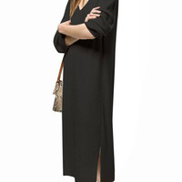 Black V Neck Long Sleeve Dress with Split Hem