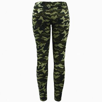 Plus Size Chic Camo Army Green Skinny Jeans
