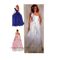 1980s EVENING GOWN Pattern Ball Gown Pattern One Shoulder Ruffle Wedding Dress Simplicity 9507 Size 12 14 16 UNCuT Womens Sewing Patterns