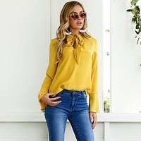 Fashion Simple Solid Color Strappy Long Sleeve V-Neck Women Tops