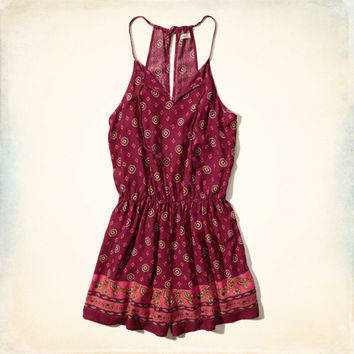 Patterned Peasant Romper