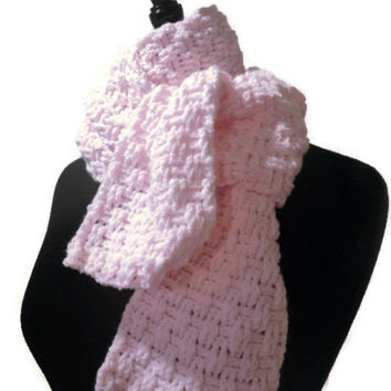 baby pink scarf, crochet scarf, basket weave scarf
