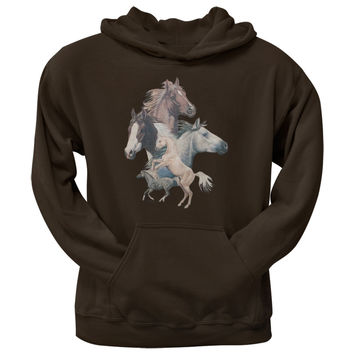 Horse Collage Adult Pullover Hoodie
