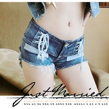 New Shorts Women 2015 Fashion Women Hole Denim Sexy Shorts Jeans Low Waist Ripped Shorts Feminino