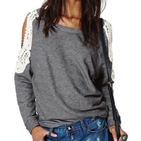 Long Sleeve Lace Crochet Hollow Stitching Strapless T-Shirt