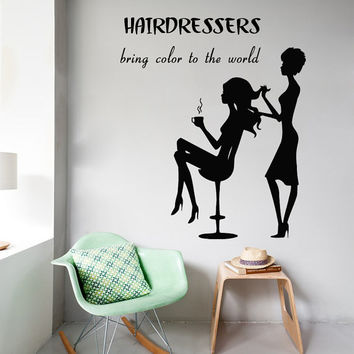 Wall Decals Beauty Quote Hairdressers Bring Colot To The World Hair Salon Home Vinyl Decal Sticker Kids Nursery Baby Room Decor kk306