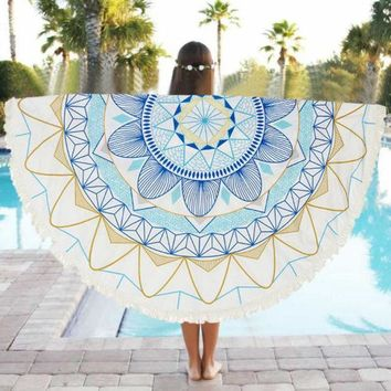 MDIG9GW Special Round 150cm Beach Towel Scarve Wall Hanging Mandala Tapestry Beach Picnic Throw Rug Blanket Beach Towels Dec05