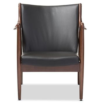 Baxton Studio Shakespeare Mid-Century Modern Retro Black Faux Leather Upholstered Leisure Accent Chair in Walnut Wood Frame Set of 1