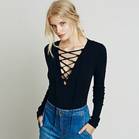 Front Lace Up Long Sleeve Blouse