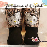 Winter LEOPARD Print HELLO KITTY Sheepskin Boots