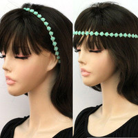Pretty Mint Flower Head Band Wrap Stretch Green Blue Hippie Fashion Jewelry