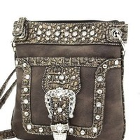 Black Western Rhinestone Buckle Crocodile Hipster Cross Body Purse