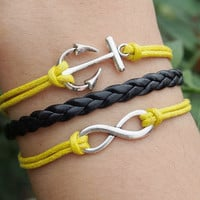 Infinity Bracelet & Anchor Bracelet Charm-Yellow Wax Cords Imitation Leather Bracelet-Best Gift Charm Personalized WOMEN Friendship Jewelry