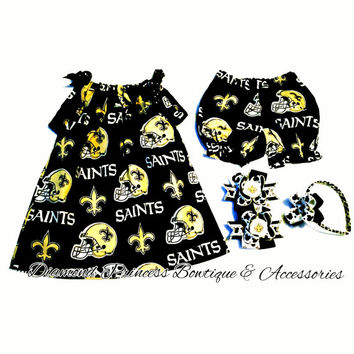 New Orleans Saints Pillowcase Dress with Panties Southern NFL Team Infant Toddler Girl Headband and Handmade Who Dat Hair Bows