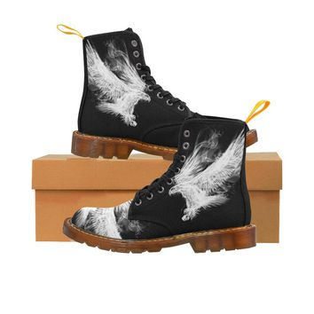 White Smoke Eagle Lace Up Martin Boots for Women