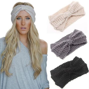 PEAPDQ7 Knited Headband Bow Crochet Turban Head Wrap Hair Accessories