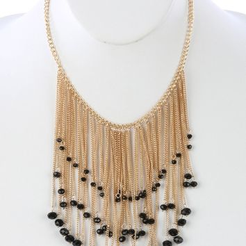 Black Long Chain Fringe Bib Iridescent Glass Bead Charm Necklace