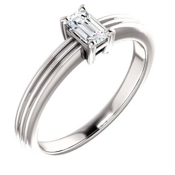 0.25 Ct Emerald Solitaire Diamond Engagement Ring 14k White Gold