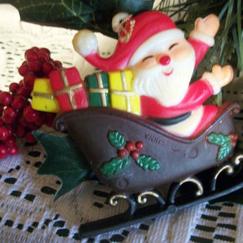 Santa Claus in Sleigh Heavy Molded Plastic Vintage Christmas Tree Ornament