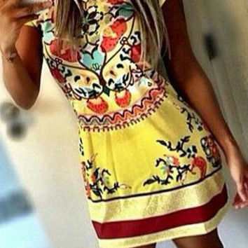 Sunshine Floral Print Tunic Dress