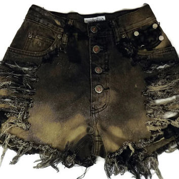 Acid Washed High Waisted Cut Off Jeans Black Free Shipping 24 Size 4 Shorts Acid Bleach Wash Denim Frayed Fringe Studded Studs Button Fly