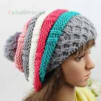 Women's Winter Ski Cap Knit Wool Warm Hat Colorful Baggy Cute Beanies Big PomPom