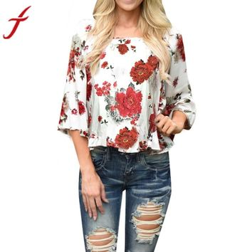 Red Collar Flower Print Blouse