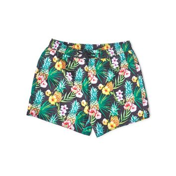 The Idle Man Tropical Swim Shorts Black