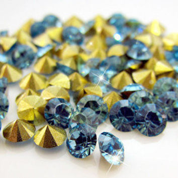 Light Blue Resin AA FOILED Point Back Gold Foil Rhinestone 4.80mm