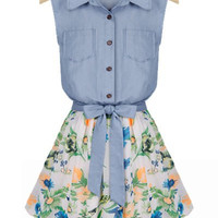 Light Blue Denim Sleeveless Floral Print Dress