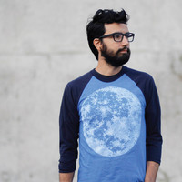Full moon mens t shirt, unisex baseball tee, men or women, moon screenprint on American Apparel sizes S M L XL