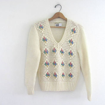 vintage popcorn sweater. white knit pullover sweater. womens size S