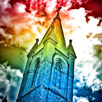 colorful rainbow effect sky and church spire art photo, pop art, tie dye, happy colors, uplifting, spiritual art, multicolor, smile