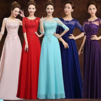2017 Cheap Red Purple Pink Aqua Royal Blue Ice Blue Yellow Long Bridesmaid Dress Wedding Party Gowns Under 60
