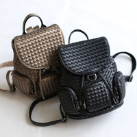 England Style Backpack Vintage Rivet Simple Design Travel Bags [4915798084]