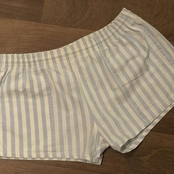 Vintage GAZELLE NEW YORK Men's Swim Shorts / Light Blue & White Stripes / Retro Short Swim Trunks / Cotton with Nylon Mesh Support Lining
