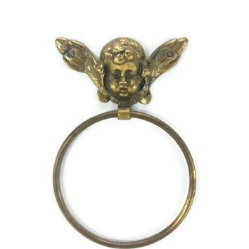 Vintage Brass Angel Towel Holder, Cherub Towel Ring, Solid Brass, Gold, Putti,Bathroom Decor,Made in Japan,Gold French Country,Ornate,Gothic