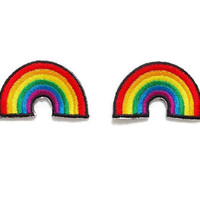 Set 2pcs. Little Rainbow New Iron On Patches Embroidered Applique Size 3.6cm.x2.2cm.