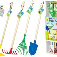 Kids Large 4pc Rake, Shovel, Spade & Hoe Garden Tool Set with Coloring Book