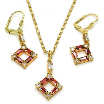 Gold Layered Necklace and Earring, with Cubic Zirconia, Golden Tone