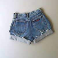 Vintage High Waisted Cut Off Denim Jean Shorts Blue 7 Wrangler 24""