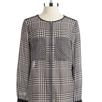 Michael Michael Kors Semi Sheer Houndstooth Blouse