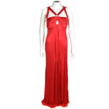 Versace RED DRESS  US 4 UK 42  SLEEVELESS  MAXI LONG  OPEN BACK
