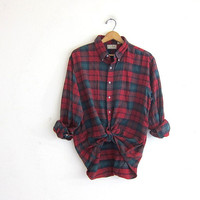 Vintage Plaid Flannel Shirt. Boyfriend Shirt. Oversized Button Up Shirt. Preppy Grunge Shirt. LL Bean / size XL