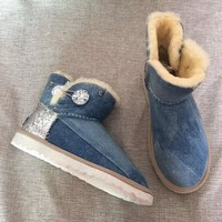 """""""Ugg """"wool Snow Boots winter Women fashion shoes/blue"""