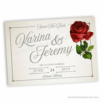 Classic Rose Wedding Save the Date Card