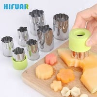 HIFUAR 8Pcs/Set Flower Shaped Fruit Vegetable Cutter Mould Cookie Cutter Cake Sushi Decorative Tool Kitchen Accessories Gadget