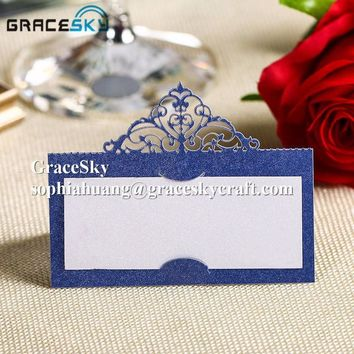 50pcs Crown Lace Laser Party Table Name Place Card Wedding Invitation  Name Table holders cards